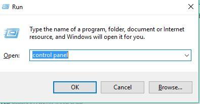 Capture control panel with Windows Run