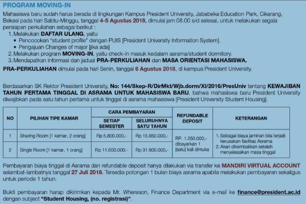 list harga president university