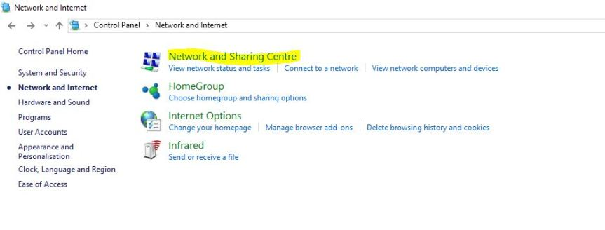 networdk and sharing centre