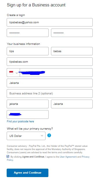 sign up for business account
